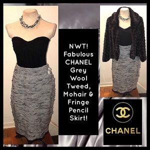 CHANEL ID Grey Wool Tweed & Mohair Fringe Skirt!